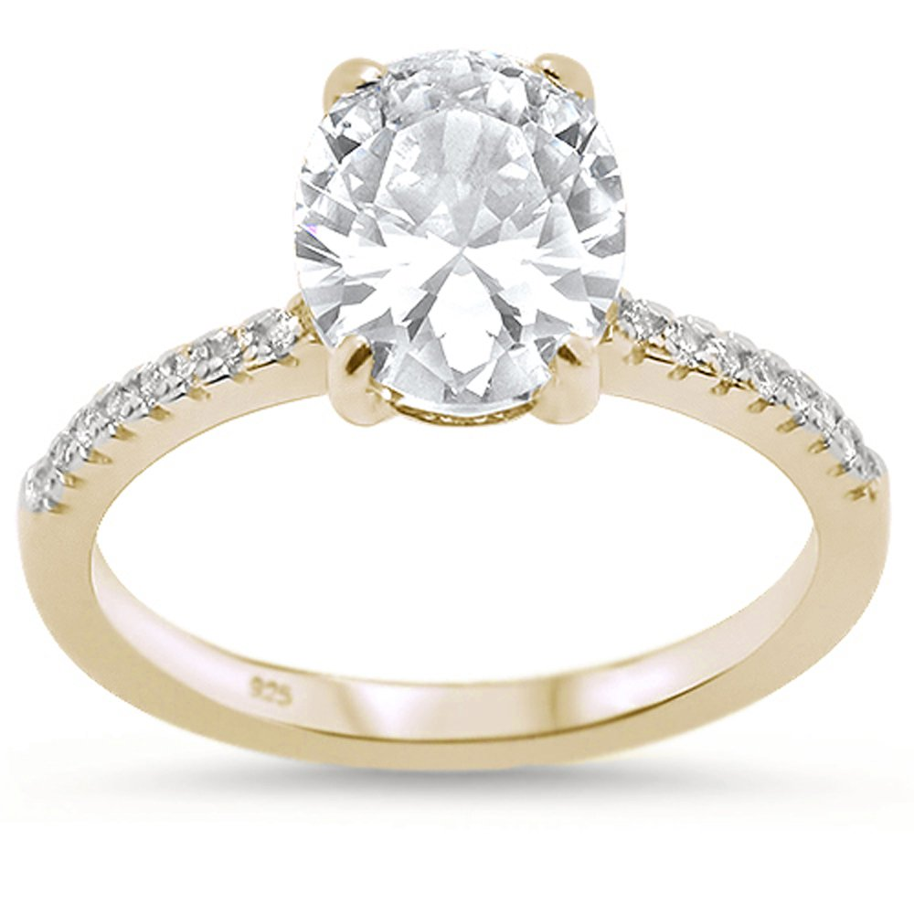 Oxford Diamond Co Sterling Silver Yellow Gold Plated Oval Cut Cubic Zirconia Engagement Ring Sizes 5