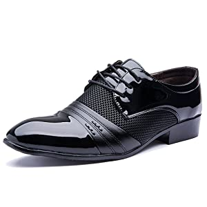 Blivener Men's Pointed Toe Pleather Dress Shoes Casual Oxford Black US 7