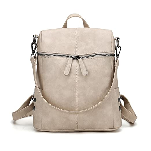 Amazon.com: Women Girls PU Leather Tote Backpack, Simple Style Vintage Purse Casual Shoulder Bag Ladies PU Leather Satchel School Bag Travel Backpack for ...