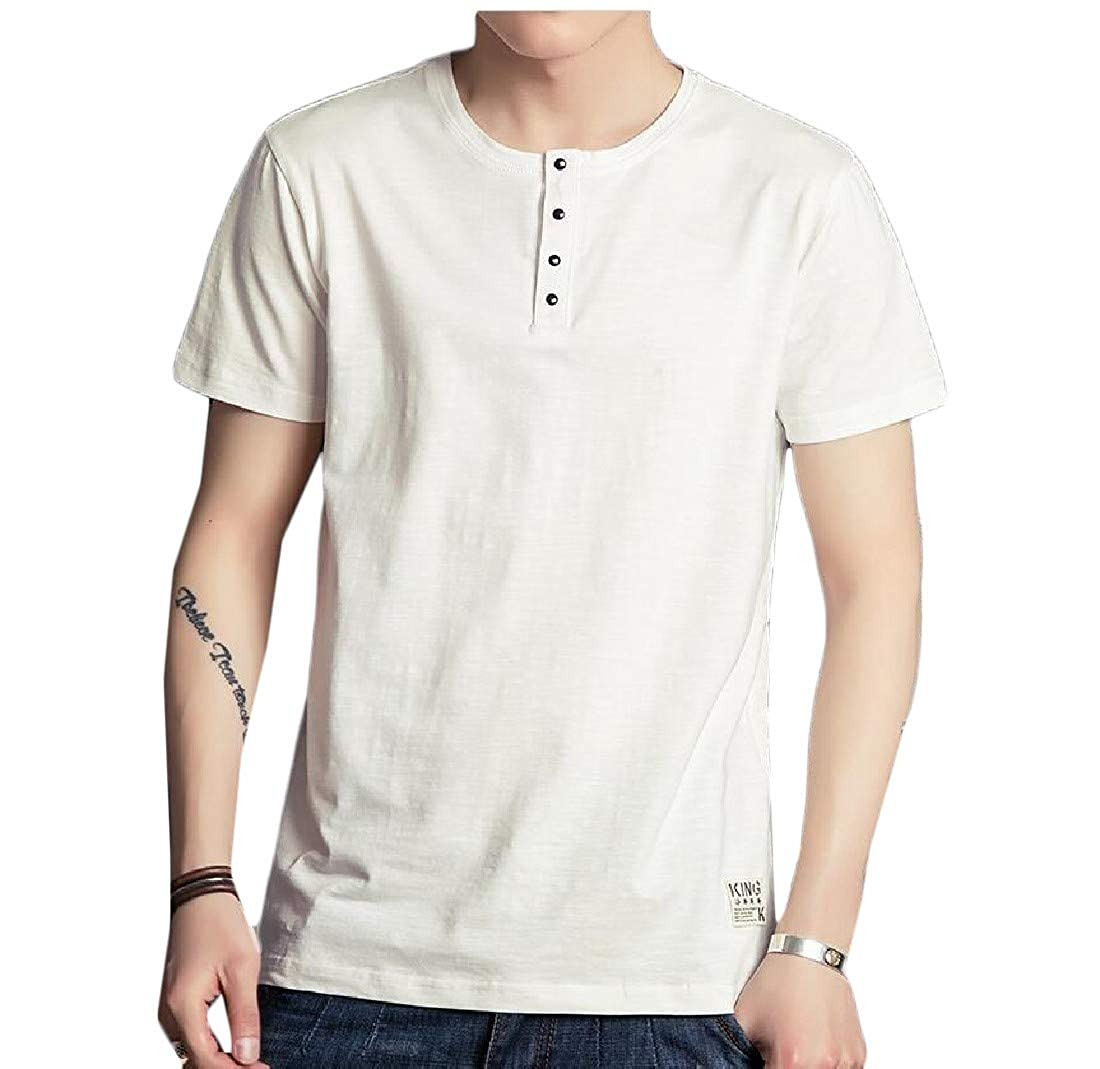 Hajotrawa Mens All-Match Short Sleeve Slim Cotton Tunic Top T-Shirts