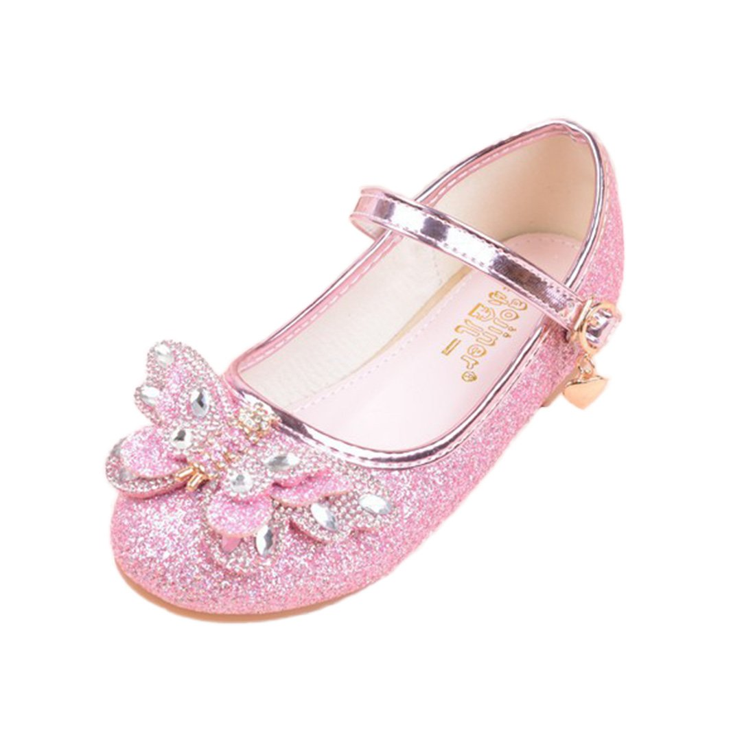 YIBLBOX Kids Girls Butterfly Ballet Flat Shoes Sequin Princess Dress Shoes Cosplay Wedding Mary Janes
