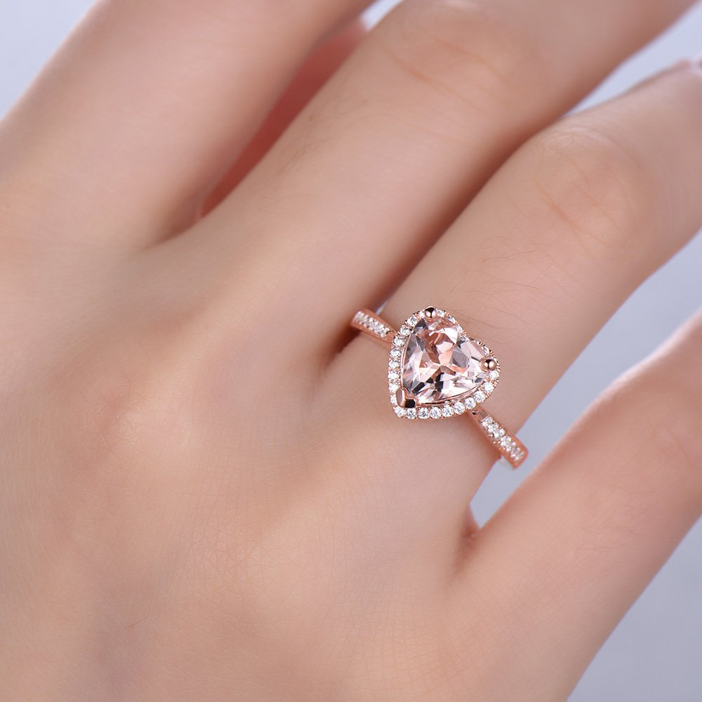 Amazon.com: Heart Shaped Pink Morganite Engagement Ring 925 Sterling ...