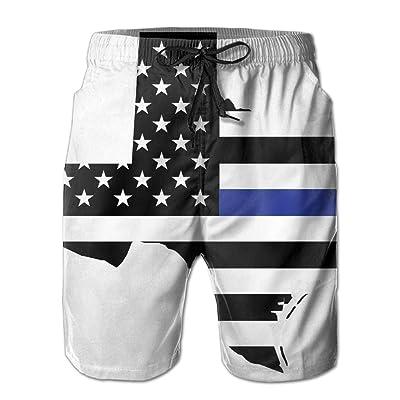 xj Blue Thin Line Texas Men's Swim Trunks Beach Shorts Board Shorts