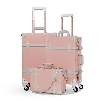 f70f05efd Amazon.com | COTRUNKAGE 3 Piece Vintage Luggage Set Retro Trunk for Women  (Peach pink) | Luggage Sets