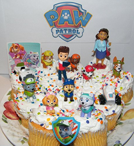 Price comparison product image Paw Patrol Deluxe Mini Cake Toppers Cupcake Decorations Set of 14 featuring Old and New Pups Like Everest and Tracker,  New Vehicles,  Special Sticker and ToyRing.