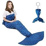 AmyHomie Mermaid Tail Blanket, Crochet Mermaid Blanket for Adults Soft All Seasons Sleeping Blankets Gift for Women(ScaleBlue,Adults)
