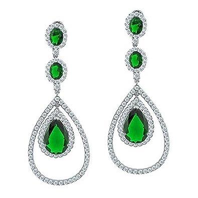 cb5e1aeeb669f Green Teardrop Prom Pageant Chandelier Statement Earrings For Women Cubic  Zirconia Simulated Emerald Silver Plate Brass