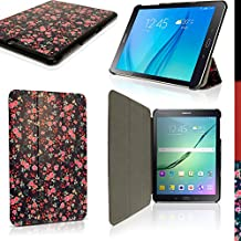 """iGadgitz 'Designer Collection' Pink Rose Floral Pattern PU Leather Smart Cover Case for Samsung Galaxy Tab S2 9.7"""" SM-T810 with Multi-Angle Viewing Stand + Auto Sleep/Wake + Screen Protector"""