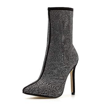 Mujeres Rhinestone Corto Botines 11.5 Cm Punta De Aguja Puntas De Tobillo Botas Bling Vestido Zapatos Casual Corte Zapatos UE Tamaño 35-42: Amazon.es: ...