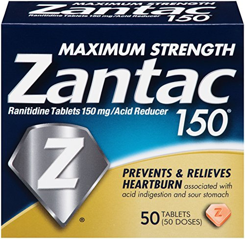 Zantac 150 Maximum Strength Tablets, Original, 50 Count, Helps Relieve and Prevent Heartburn Associated with Acid Indigestion or Sour Stomach, Use Before or After Meals or Before Bed at Night