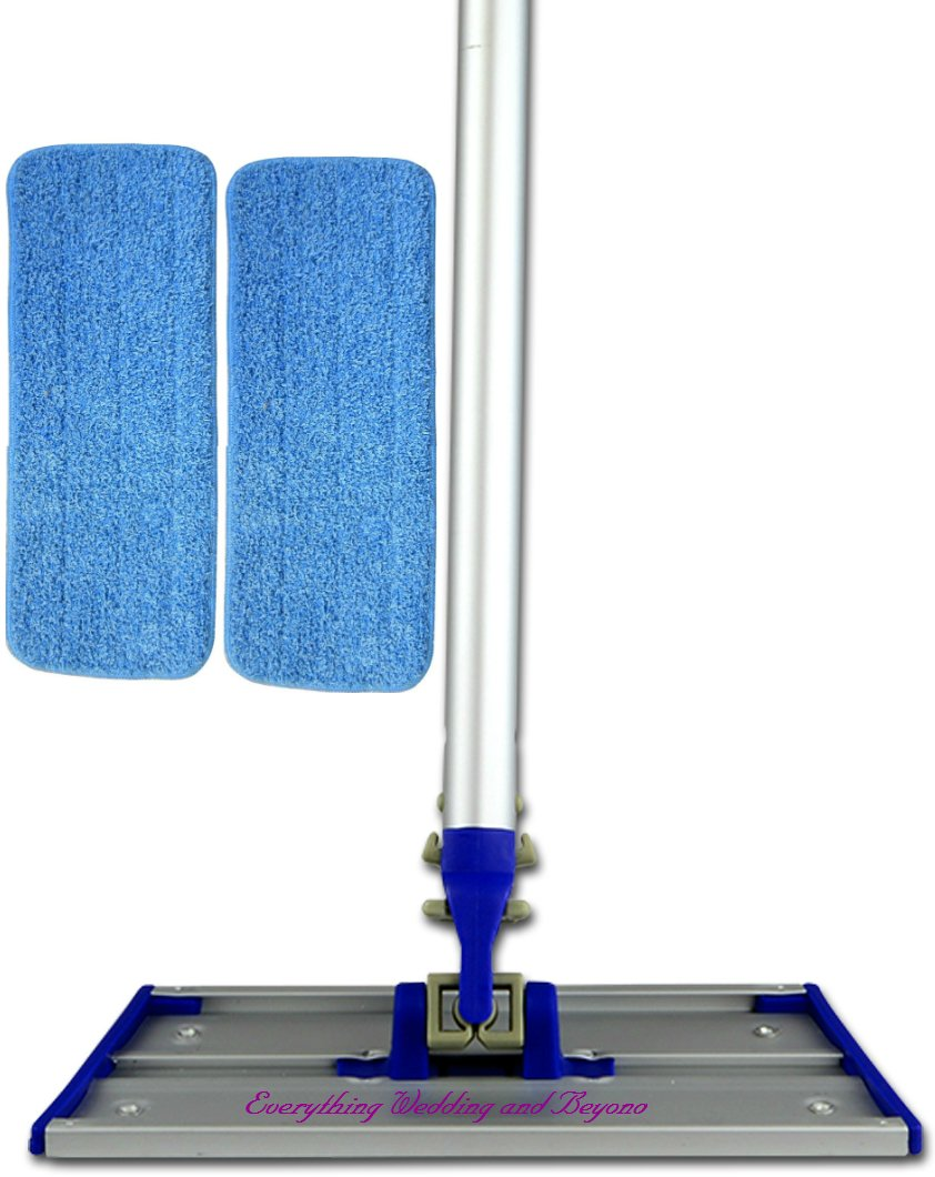 The Everywhere 9X5 Inch Mini Mop kit is a Commercial Grade Microfiber Wet or Dry Mop with 2 no Bonnet but Velcro Microfiber Pads and an Extending Pole that Stretches From 42 to 72 Inches.