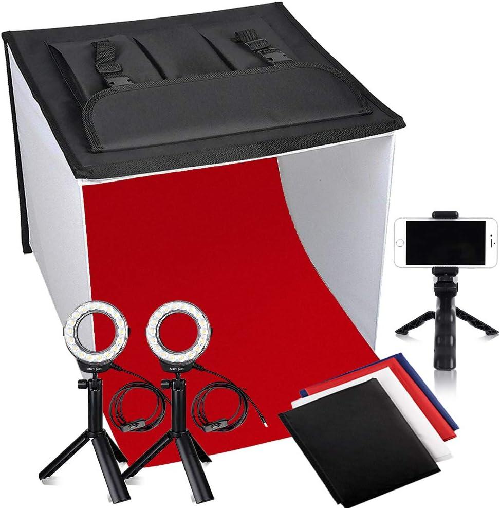 Estudio Fotográfico, FOSITAN 40x40cm Cortina Portátil Caja de luz con 2X 900lm, 2X 7W LED Cabeza de Anillo, 3X Trípode, 4X Fondo(Rojo, Negro, Azul Oscuro, Blanco): Amazon.es: Electrónica