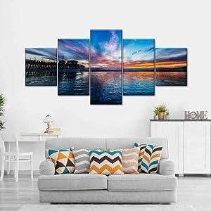 Creative Gift 5 Panel Canvas Wall Art Canvas Prints 5 Pieces Modern Home Living Room Decor Bedroom Decor Santa Monica Sunset Waves Hd Print Poster