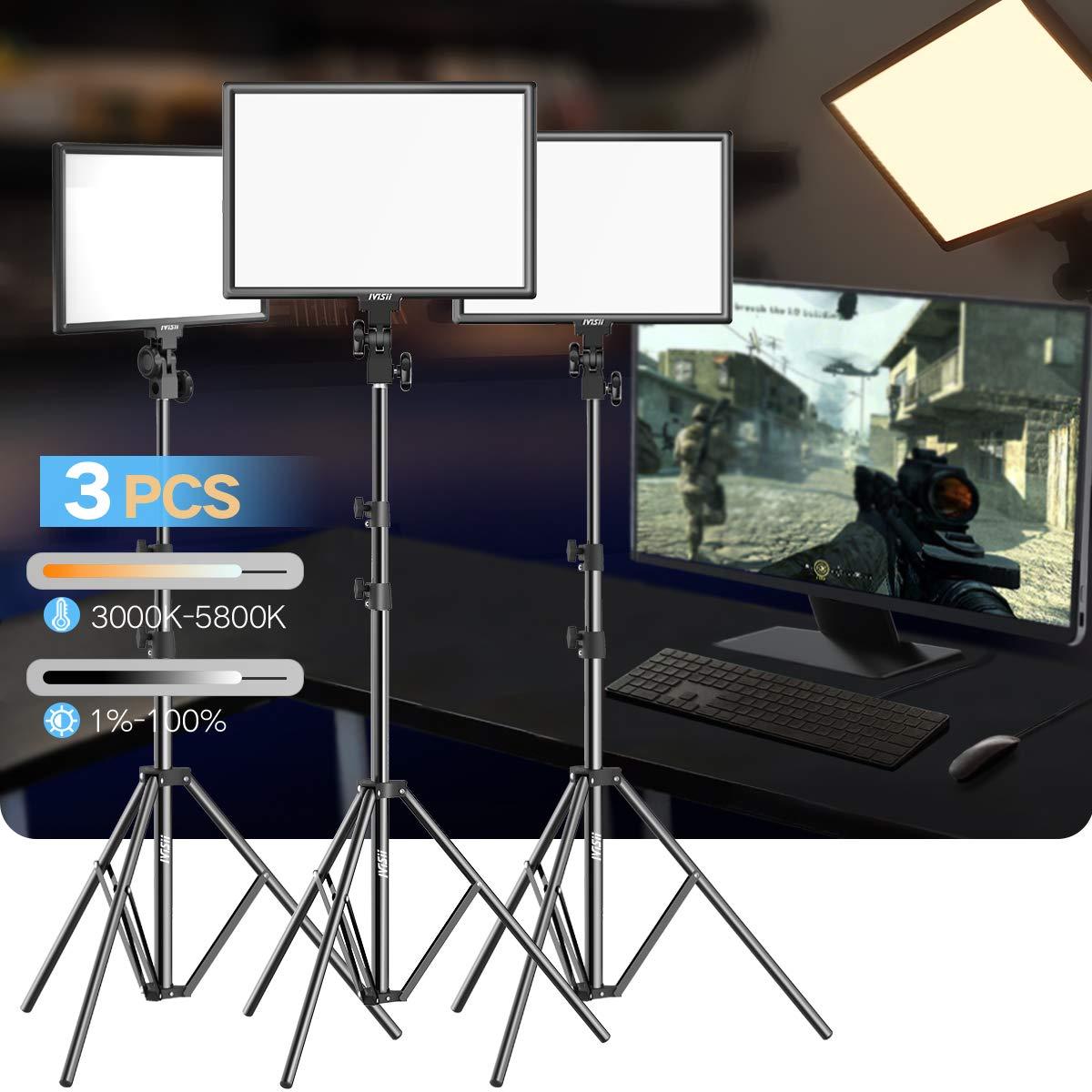 LED Video Light Kit - 15.4 Inch Bi-Color 3000k-5800k 45W Dimmable LED Panel Adjustable Light Stand Canon Nikon Pentax Camera Camcorder Studio Shooting (3-Pack)
