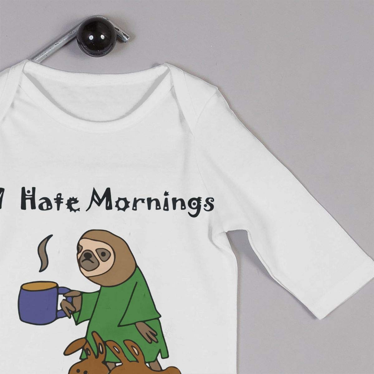 A1BY-5US Infant Babys Cotton Long Sleeve Funny Sloth Hates Mornings Baby Clothes One-Piece Romper Clothes