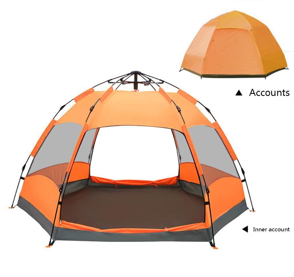 屋外3-4人二重六角形のビーチ自動テントキャンプキャンプテント  Orange B07DYMMCNK