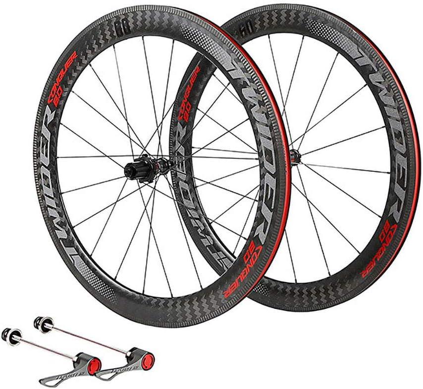 LIDAUTO Rueda de Bicicleta de Carretera 700C 4 rodamientos de Rueda Libre Bujes de Fibra de Carbono de 60 mm de llanta Logo Reflectante,Red: Amazon.es: Deportes y aire libre