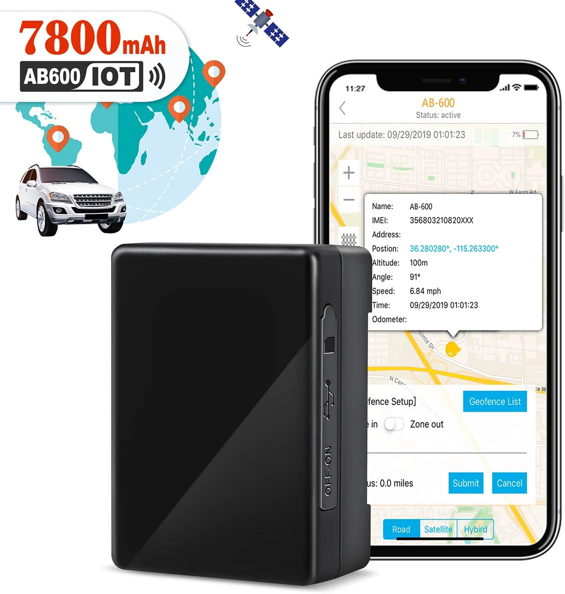 GPS Tracker for Vehicles, 7800mAh IoT Real-time GPS Tracking Device for Car NB-IoT Cat-M 4G Small Hidden GPS Locator for Vehicle, Car, Personal, Valuable – with Global SIM Card – 90 Days