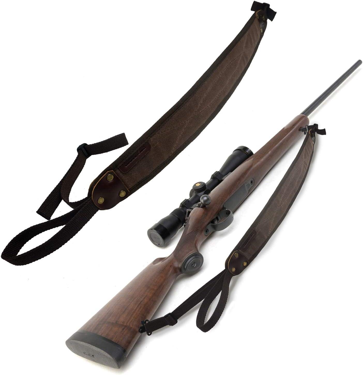 Original Power Correas de Pistola de Escopeta de Lona duraderas, Honda de Rifle de Cuero Real, con giratorios de desmontaje rápido de 1