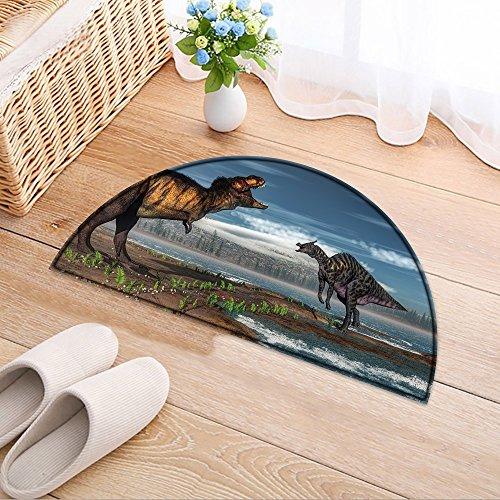 NALAHOMEQQ Non Slip Doormat Tyrannosaurus rex and saurolophus dinosaurs by day - D render Living Bath Room Bedroom(31.5x19.7 INCH) Rex Slip