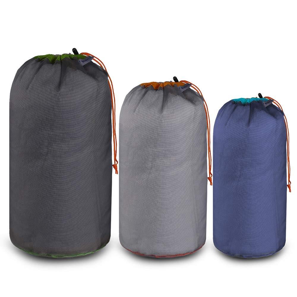 Lixada Bluefield 3pcs Bolsas de Cord/ón Deportivas Bolsa de Clavija de Tienda Reutilizable Paquete de Almacenamiento de Viaje para Acampar en Casa