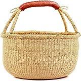 "Fair Trade Ghana Bolga African Dye-Free Market Basket 14-16"" Across, #20267"