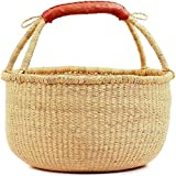 "Fair Trade Ghana Bolga African Dye-Free Fully Shaped Market Basket 14-16"" Across, 20267, Made in Bolga, Ghana, West Africa for Fair Trade Gifts and Home Decor"