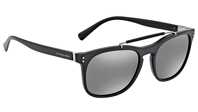 4ce764204d7f Burberry Men's BE4244F Sunglasses Matte Black/Grey Mirror Silver 56mm