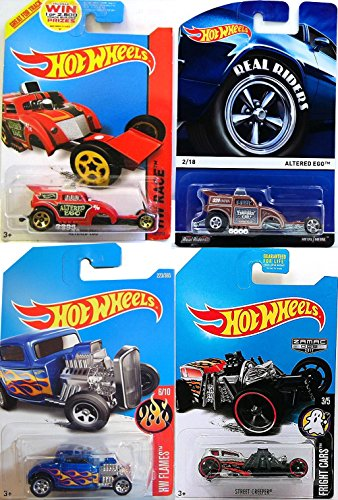 Hot Wheels Real Riders & Mainline 2017 Exclusive Zamac Street Creeper Fright Car Altered Ego Rubber Tires #2 & Red Race #167 + '32 Ford Classic Hot Rod Flames #223