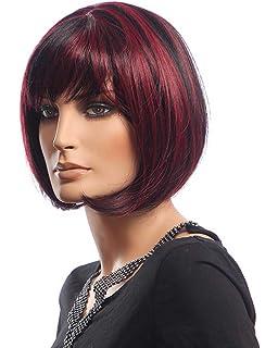 Falamka D10185 spalla lunghezza rosso nero colore misto da donna Bob dritto  parrucca