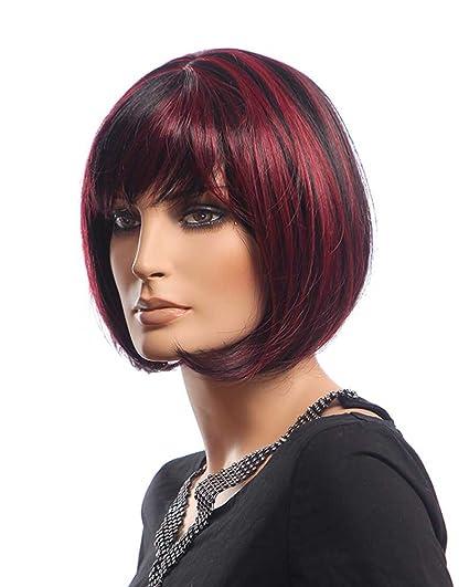 falamka d10185 hombro longitud rojo negro Color mezclado de ...