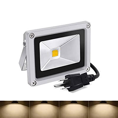 Led Flood Lights, 10w Warm White Outdoor Spotlight, 3200K IP65 Waterproof Garden Light with US 3-Plug (Warm White)
