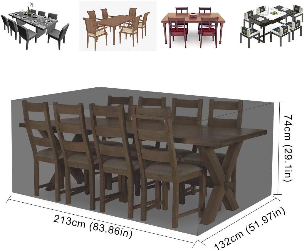 Mutsitaz Copertura per Mobili da Giardino 213 x132 x74cm Nero Rettangolare Impermeabile Telo Poliestere per Mobili Esterni Tavolo e Sedie