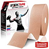 StarkTape Kinesiology Tape for Athletes. Knee Taping, Sports Injuries Tape Ankle Shoulder Wrist Muscle. Sticky Waterproof Latex Free Adhesive. (Beige bulk, 5 cm x 35 m)