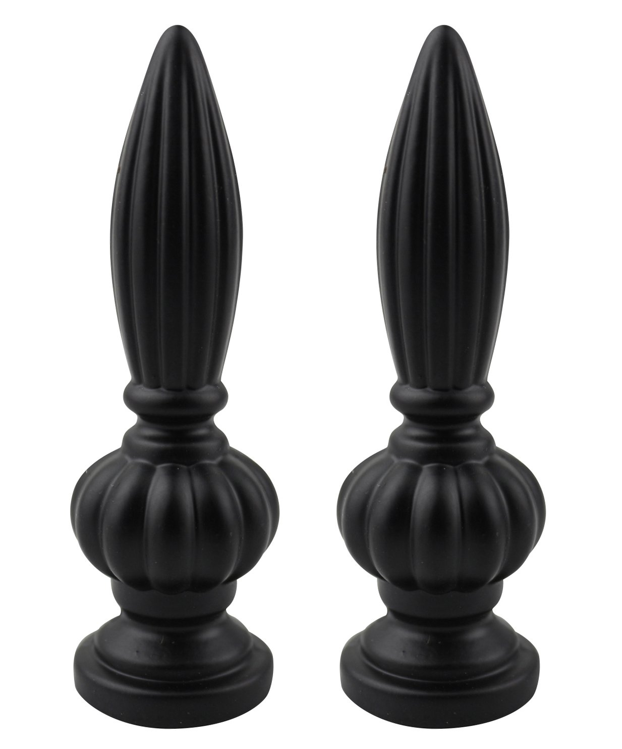 Urbanest Set of 2 Agnes Lamp Finial, 3 1/16-inch Tall, Matte Black