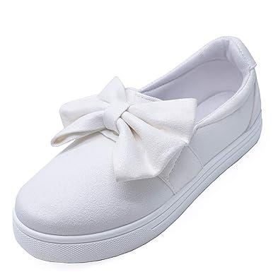 60755078b81d HeelzSoHigh Girls Kids Childrens White Slip-On Plimsoll Pumps Trainer Shoes  Sizes 8-1
