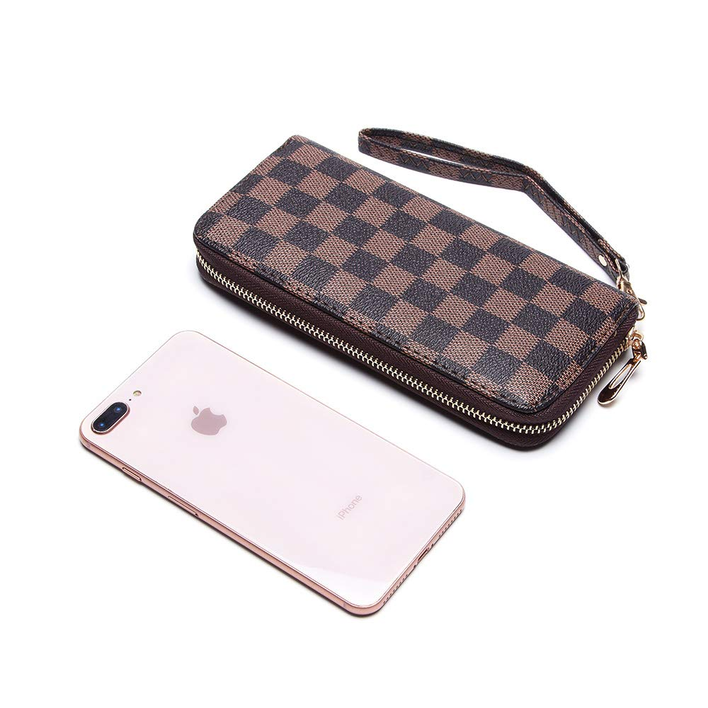 Wristlet Wallets for Women Long Womens Wallet Leather Clutch RFID Blocking with Zip Around Card Holder Organizer (Brown(1 Zipper)) by ANT EXPEDITION (Image #3)