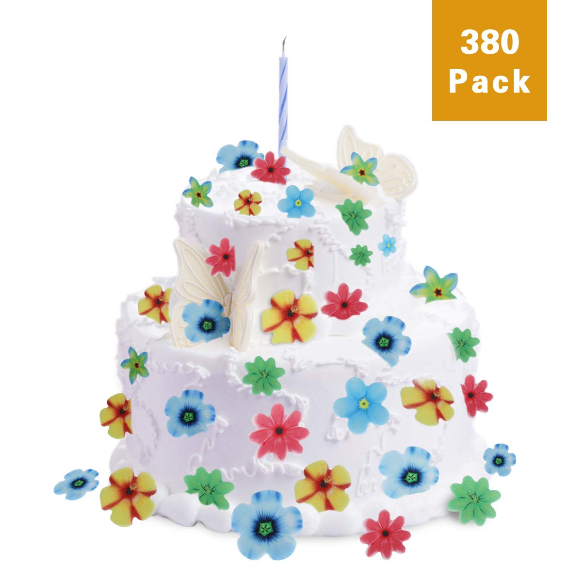 FishMM Set of 380 Edible Rainbow Flowers Party Decorations, Wafer Rice Paper for Cake, Cakecup, Food, Fruit, Wedding Table Decorations Toppers