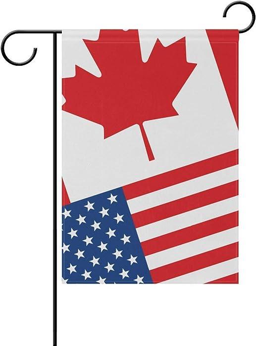 Febrrylice America Canada Flag Garden Flag Yard Banner for Home Flower Pot Outdoor Decor