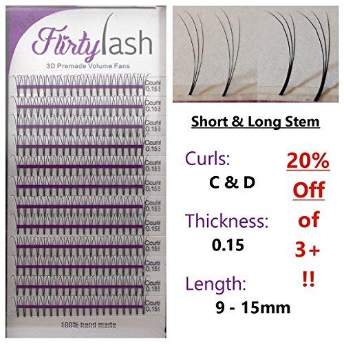 Stems Mixed (Eyelash Extension 3D-Premade Volume-Lash-Fans .15mm Thick D Curl Choose Length 9 to 15 plu Mixed Ship 1-4 days (13 Short Stem))