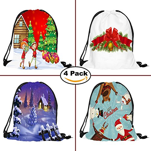 4 Pack Christmas Festive Holidays Seasons Greetings Drawstring Backpack Bags, Santa Claus Snowman Reindeer Sleigh Snowflake Snow, Great for Party Favors, Gifts, Candy Bags, and - Bag Festive Santa