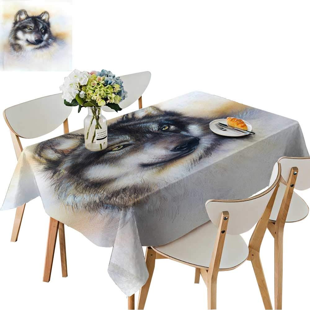 UHOO2018 Solid Tablecloth Wolf,Wild Animal Painting,Color Background on Paper,Multicolor .Close up Square/Rectangle Spillproof Fabric Tablecloth,52 x 70inch