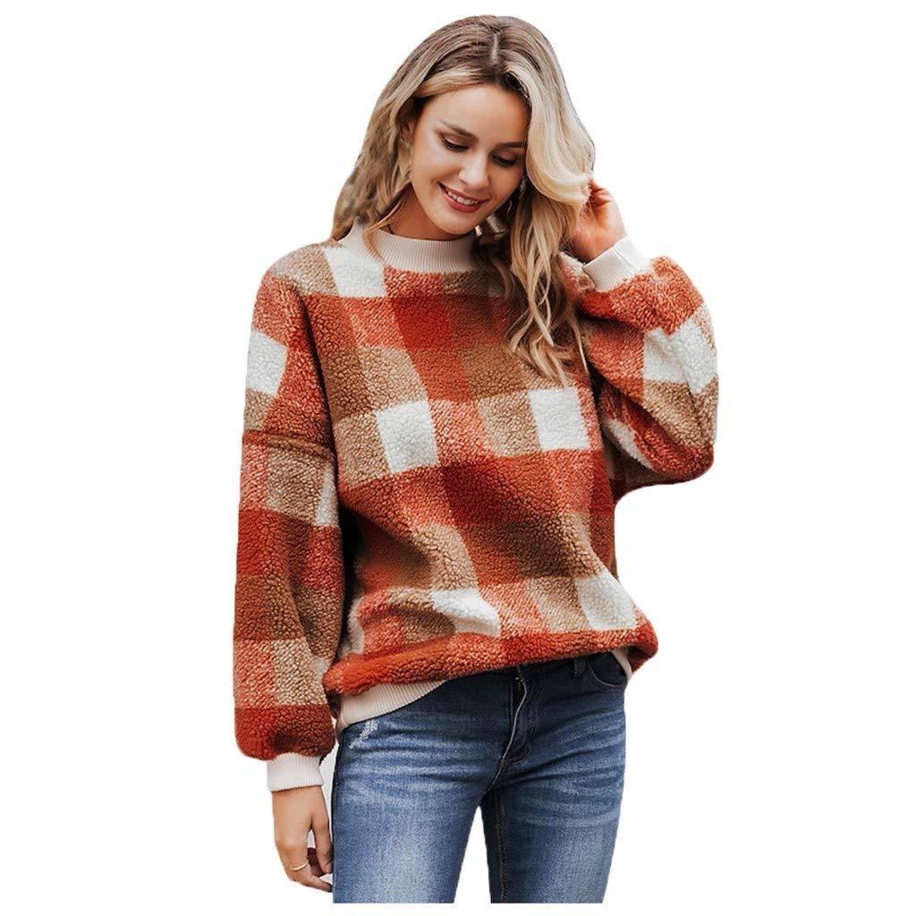 Alangbudu Women Plaid Fluffy Plush Pullover Long Sleeve Sweatshirt Warm Tops Loose Tunic Casual Guard Blouse Red by Alangbudu-Women's Long sleeve blouses & sweatshirts & hoodies
