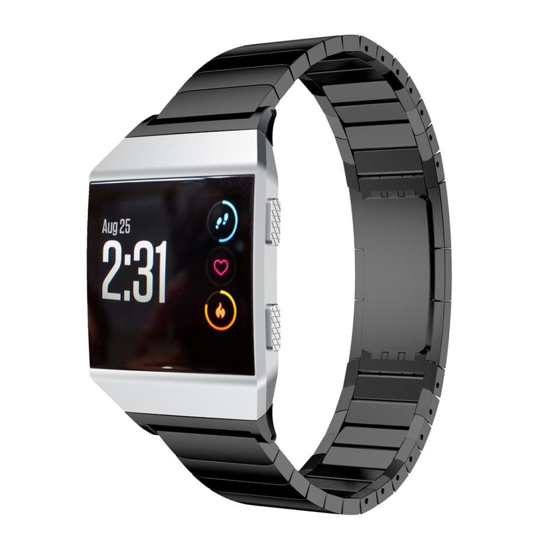 For Fitbit Ionic Band, Gotd Stainless Steel Replacement Bracelet Strap Band For Fitbit Ionic, Large Small Women Men (Black)
