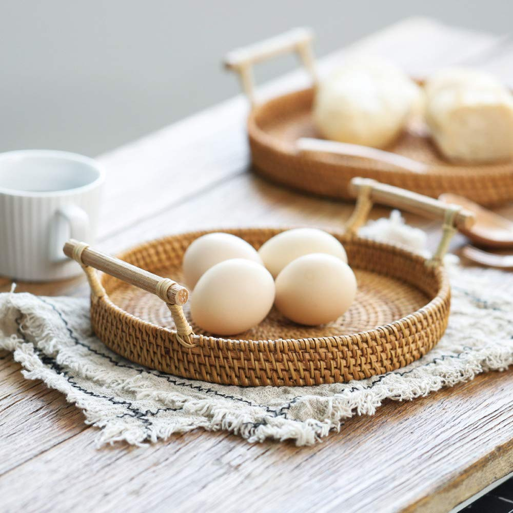 FREELOVE Manual Rattan Bread Basket/Fruit Tray, Round (9.4 in.) by FREELOVE (Image #4)