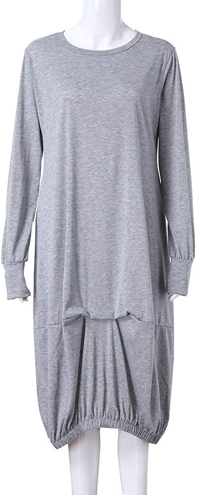 LIM/&SHOP-Women Dresses Round Neck Long Sleeve Plus Size Ruched Loose Casual Long Maxi Dress