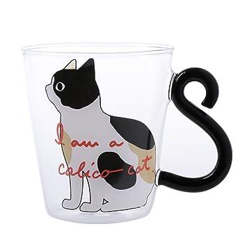 ZOOMY Taza de Café Lindo Gato Creativo Gatito Taza de Vidrio Té Leche Taza de Café Gatito de Dibujos Animados - A: Amazon.es: Hogar