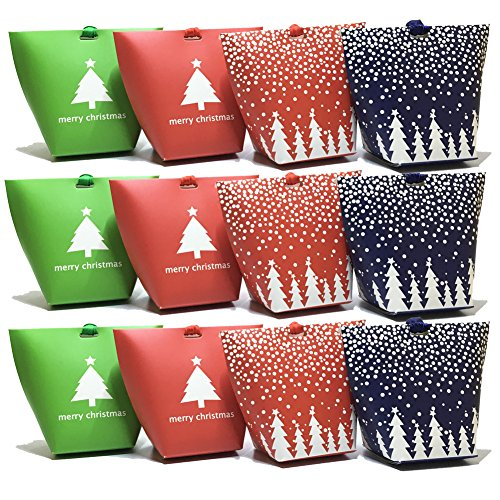 SanMeader 12pcs Colourful Christmas Tree Snowflake Pattern Candy Box with Ribbons , Party Dessert Cookie Paper Packaging Festival Holiday Gift Wedding Gifts Wrap Bag Tapered Tote (Snowflake Tote)