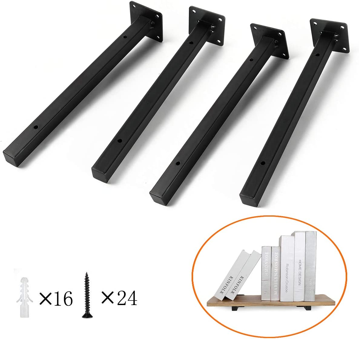 "Heavy Duty Floating Shelf Brackets, 14"" Blind Industrial Metal Shelving Brackets Wall Mounted Concealed Iron Hidden Hardware Brace for DIY or Custom Wall Shelving (4 Pack - Black)"