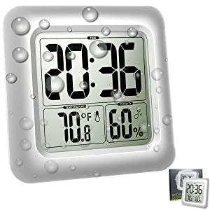 Large Waterproof Wall Clock for Shower Bathroom, Digital Mirror Clock Bath Thermometer Hygrometer Temperature Humidity Gauge, 4 Strong Suction Cup, Silver Big Time Display, Wall Hanging or Table Stand